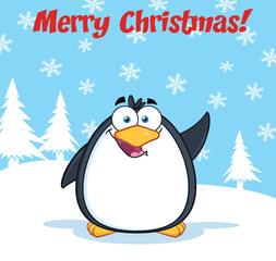 Merry Christmas Greeting With Funny Penguin Character Waving