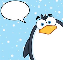 Cute Penguin Character Looking From A Corner With Speech Bubble