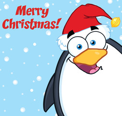 Merry Christmas With Cute Penguin Looking From A Corner
