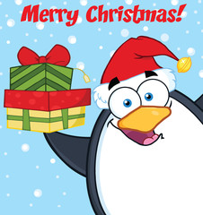 Merry Christmas With Penguin Holding Up A Stack Of Gifts