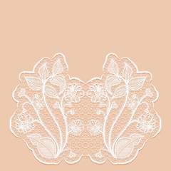 Template greeting or invitation card with with lace flowers