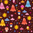 cute mushrooms flowers birds seamless pattern