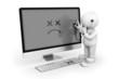 Leinwanddruck Bild - PC mit Stethoskop abhören