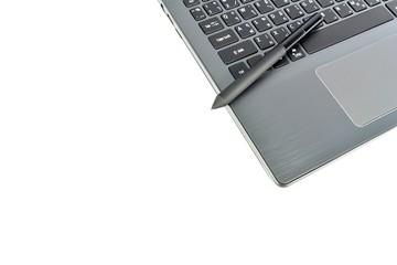 Technology concept - Laptop and stylus pen
