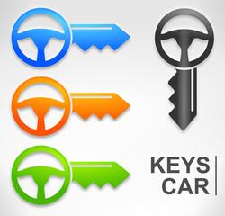 symbole clef de voiture 4 couleurs