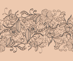 Seamless lace black ribbon on a pink background