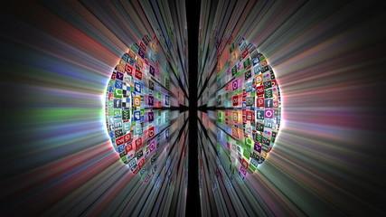 Social Network Icons Sphere Rotating, shine, black