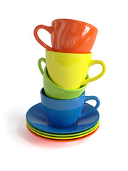 Colorful cups isolated