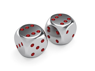Metal dices isolated