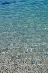 Waves on water surface. Some rocks under water