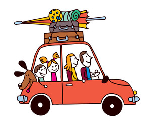 Family of four vacation, Car with luggage travel illustration