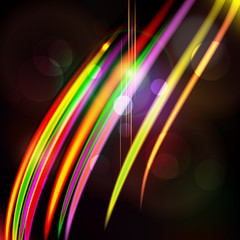 Abstract light color glowing line design against dark background
