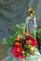 The bridal  floral arrangements.