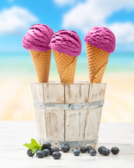 Icecreams With Blueberries