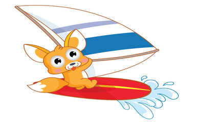Squirrel cartoon surfing