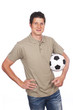 Junger Mann mit Fußball isoliert