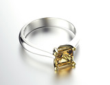 Golden Engagement Ring with Diamond or moissanite. - 66576420