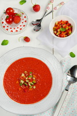 Tomato and strawberry gazpacho