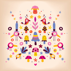 flowers, birds and mushrooms nature vector retro illustration