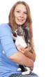 Junge Frau mit Katze isoliert