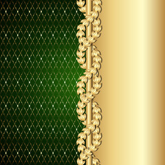 Vintage gold and green background with laurel leaves.