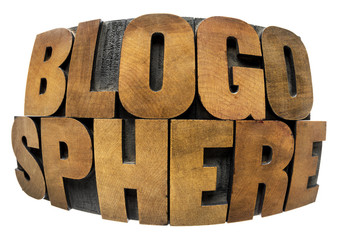 blogosphere word in wood type