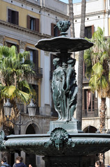 Old and famous fountain in Barcelona