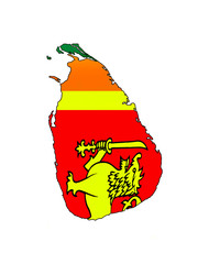 Sri Lankan Clip Art Map With Sri Lankan National Flag's Colours