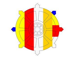Dharma Wheel With Buddhist Flag's Colours