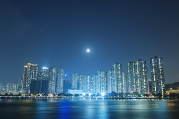 Full moon over Hong Kong City
