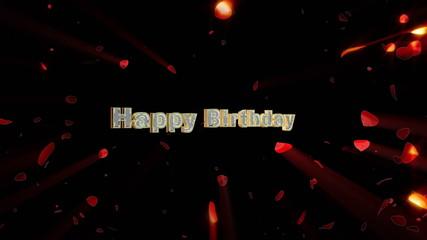 Happy Birthday and rose heart exploding, shine