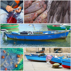 Collage - Typical fishing boat night in the little port