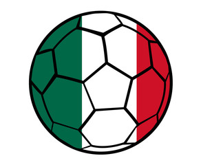 Isolated Clip Art Football With Mexico Flag's Colors