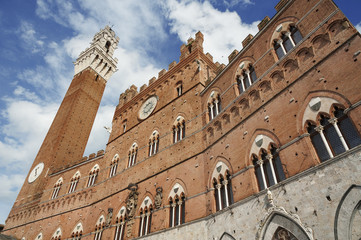 Piazza del Campo in the historic center of Siena, Italy