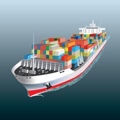 Cargo ship sailing