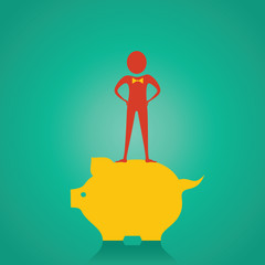 Man stand up on the piggy bank for saving money stock vector