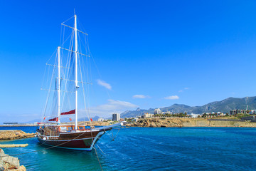 Sailing ship in Kyrenia (Girne) port, Cyprus