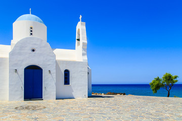 White chapel on a shore in Protaras, Cyprus