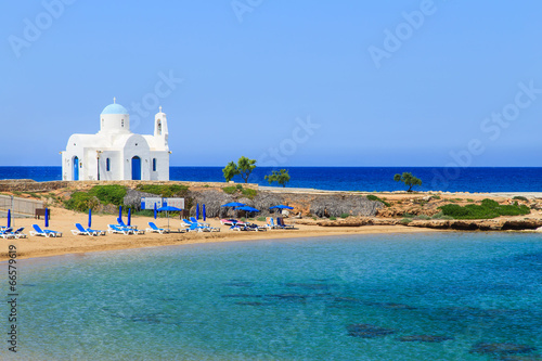 A church on a shore near Protaras, Cyprus - 66579619