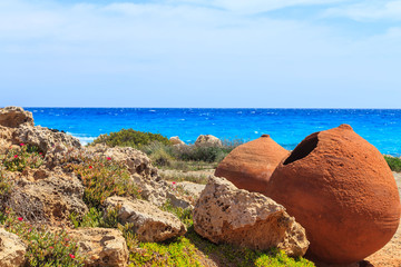 A view of old pots on the Nissi beach in Aiya Napa, Cyprus