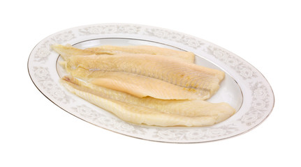 Flounder fillets on serving platter