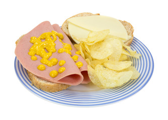 Baloney and cheese sandwich with chips