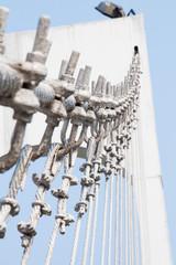 The wire metal rope bridge