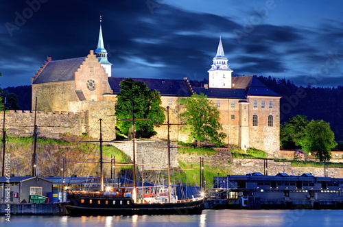 Poster Akershus Fortress at night, Oslo, Norway