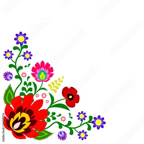 obraz PCV Polski wektor tradycyjny słowiański folk kwiatowej dekoracji narożnik