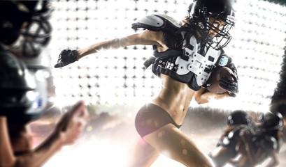american football woman player in action