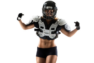 american football woman player in action isolated