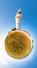 Paphos lighthouse. Little planet. Cyprus