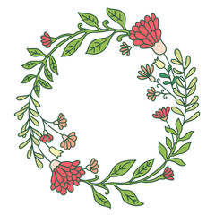 Vector hand drawn flower wreath round frame