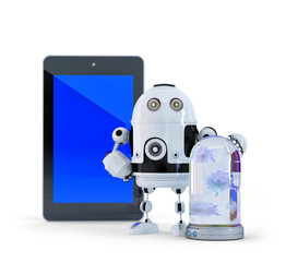 eRobot with tablet computer. Isolated. Clipping path